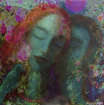 Moolit Kiss with Flowers by Alice Mason