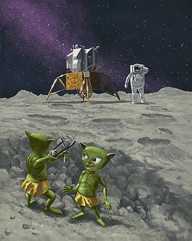 Martin Davey - moon alien kids catapult firing game with astronauts
