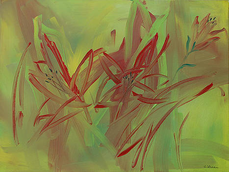 Moon of Red Blooming Lilies  July by Ethel Vrana