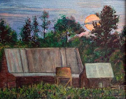 Moon Over Caribou Ranch Barn by Carol Warner