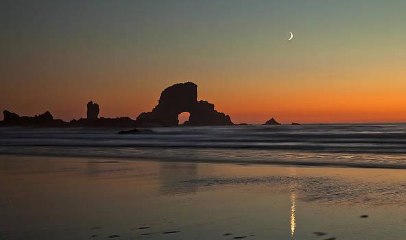 Moon over Ecola Beach by Ross Murphy