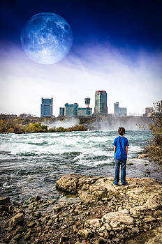 Moon Over Niagara Falls by Anthony Morganti