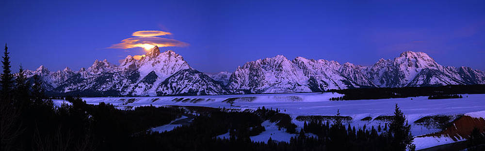 Raymond Salani III - Moon Sets Over Behind the Tetons Panorama