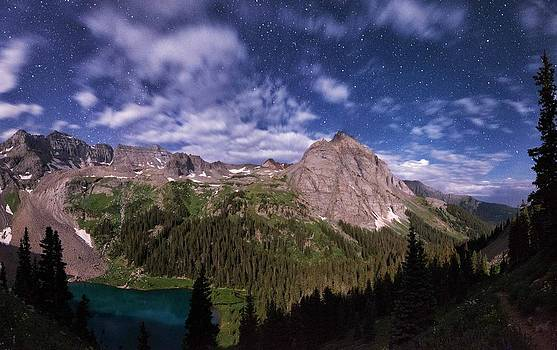 Moonlight Hiking On The Blue Lakes Trail by Mike Berenson