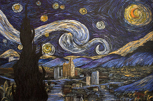 Moonlight Tribute to Van Gogh by Julia Robinson