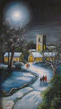 Moonlit Church Goers by Jeanette Foresta