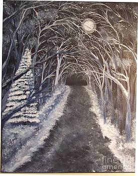 Moonlit Country Road by Lucia Grilletto