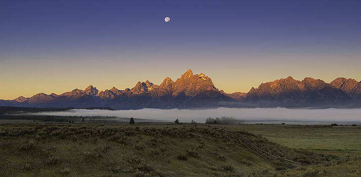 Moonset at Dawn Grand Teton National Park by Joseph Rossbach