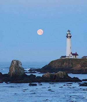Moonset at Pigeon Point by Lawrence Pratt
