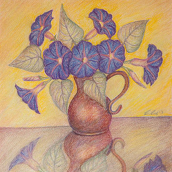 Morning Glories with Yellow Background by Claudia Cox