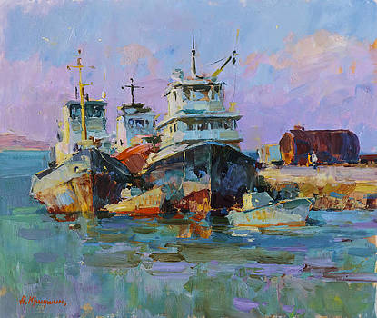 Morning in the port by Alexander  Kriushin