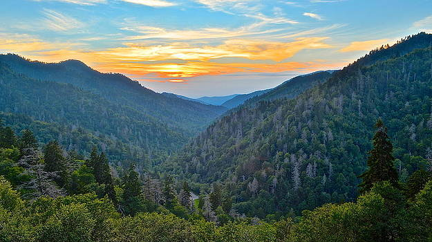 Frozen in Time Fine Art Photography - Mortons Overlook Smoky Mountain Sunset