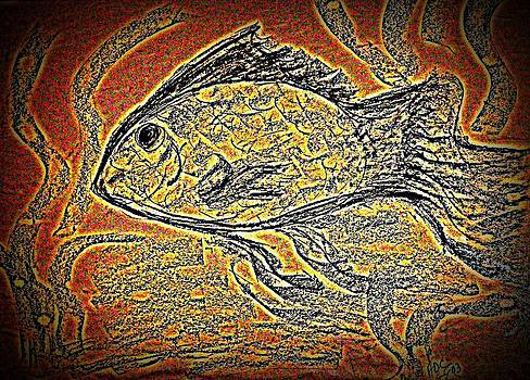 Mosaic Goldfish in Charcoal by Antonia Citrino