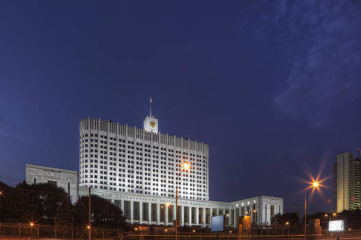 Moscow Building at Night by Magomed Magomedagaev