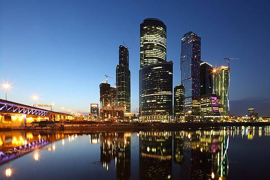 Moscow City skyline at night by Alex Sukonkin