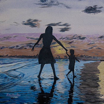 Ian Donley - Mother and child at the Beach at Sunset