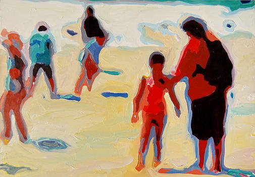 Mother and Child on Sunny Beach by Thomas Bertram POOLE