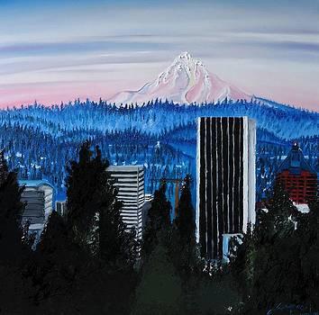 Mount Hood Over City Of Portland by Portland Art Creations