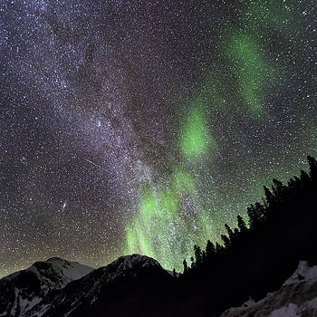 Mountain Aurora and Milky Way by Lisa Hufnagel