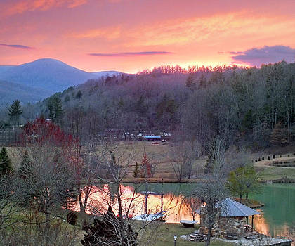 Mountain Country Farm with Ponds at Sunset by Duane McCullough