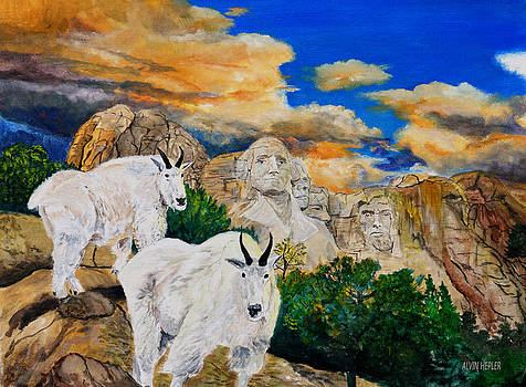 Mountain Goat - Mount Rushmore by Alvin Hepler