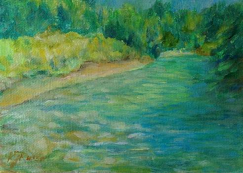 Mountain River in Oregon Colorful Original Oil Painting by K Joann Russell