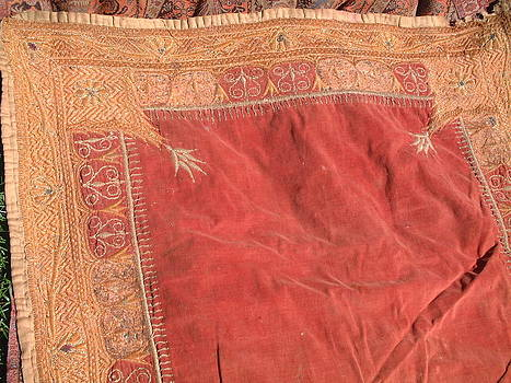 Mughal tapestry with gold filament hand embroidery by Indian tapestry artist