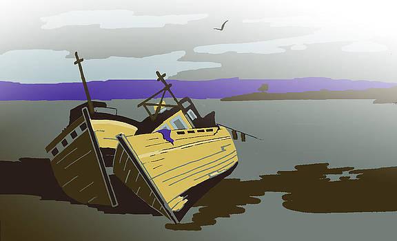 Mull Boats in Mist by Tony Partington