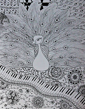 Musical Peacock Black and White by Alexandra Benson