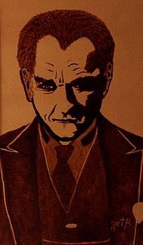 Mustafa Kemal Ataturk coffee painting pop art by Georgeta  Blanaru
