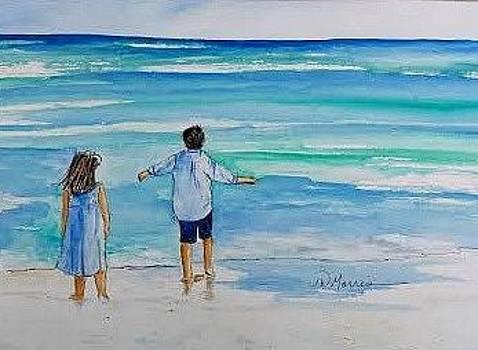 My Children at the Beach by Jill Morris