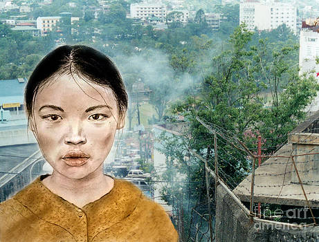 My Kuiama a Young Vietnamese Girl Version II by Jim Fitzpatrick