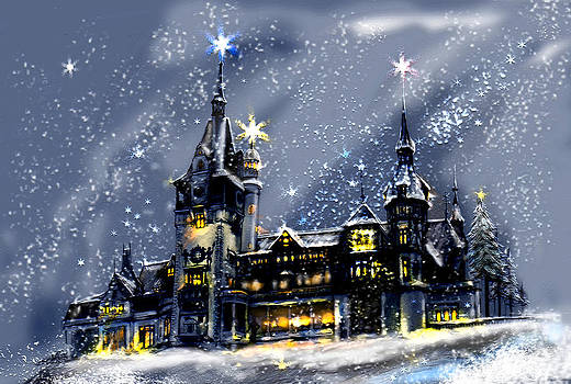 Mystery Castle in the snow by April Lily