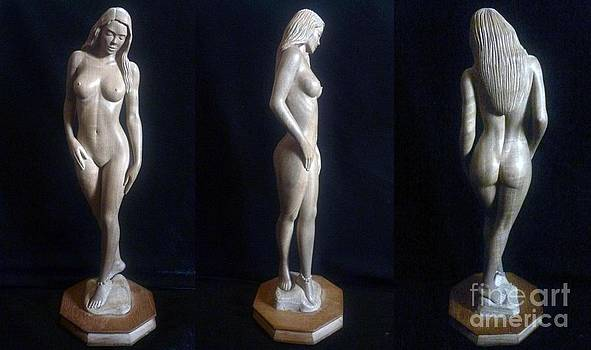 Naked Seduction - Wood Sculpture of Naked Woman by Ronald Osborne
