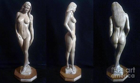 Naked Seduction - Wood Sculpture of Naked Woman by Carlos Baez Barrueto