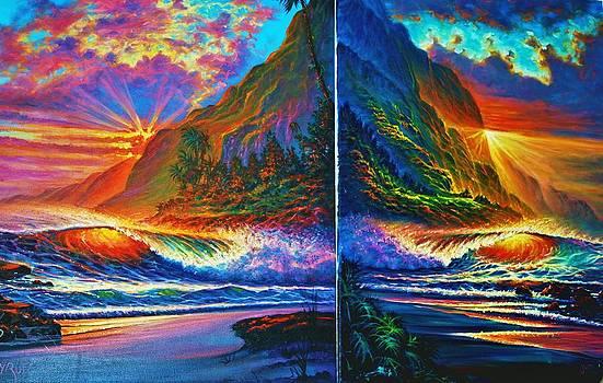 Napali Cliff's Sunset - diptych by Joseph   Ruff