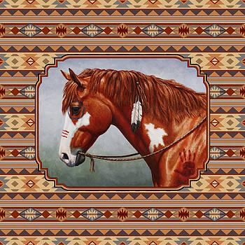 Crista Forest - Native American War Horse Southwestern Pillow