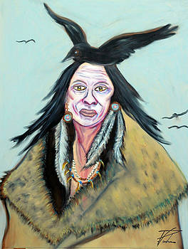 Ayasha Loya Aka Pari  Dominic - Oil Pastels Painting of Native American Warrior by Ayasha Loya