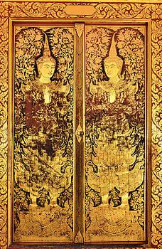 Native Thai style of pattern on door temple by Keerati Preechanugoon