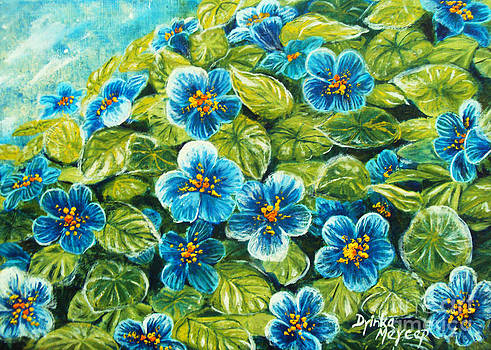 Nature Blue Flowers Original Painting Oil on Canvas by Drinka Mercep