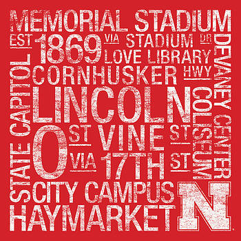 Nebraska College Colors Subway Art by Replay Photos