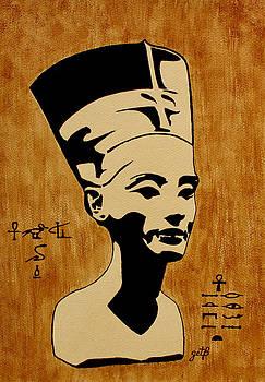 Nefertiti Egyptian Queen original coffee painting by Georgeta  Blanaru
