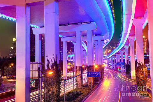Fototrav Print - Neon lighted elevated highway