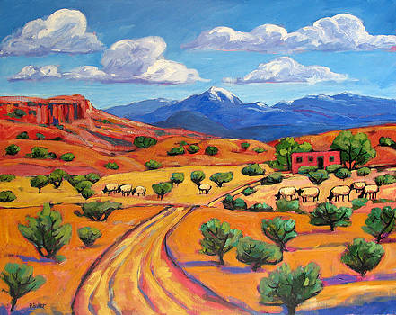 New Mexico Landscape with Sheep by Patty Baker