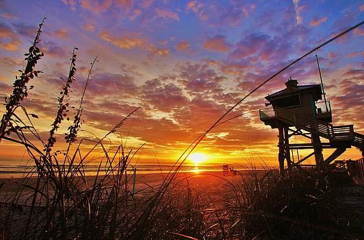 New Smyrna Beach Lifeguard Tower at Sunrise by DM Photography- Dan Mongosa