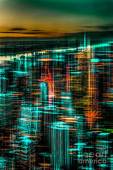 New York - the night awakes - green by Hannes Cmarits