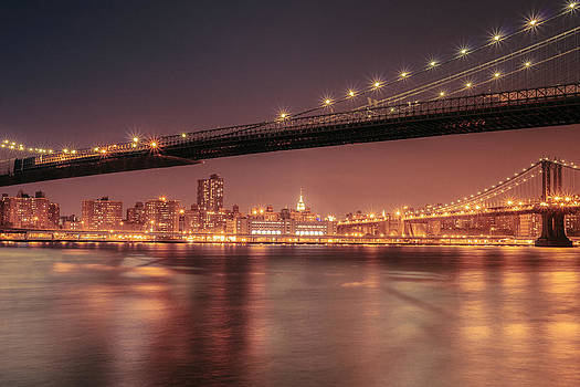 New York City Night - Two Bridges by Vivienne Gucwa