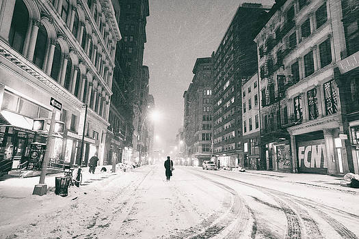 New York City - Snow - Empty Streets at Night by Vivienne Gucwa