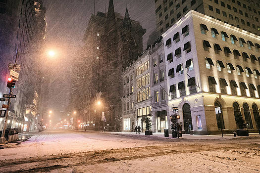 New York City Streets on a Snowy Night  by Vivienne Gucwa