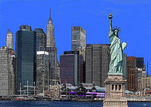 New York Harbor with Statue of Liberty by Israel  A Torres